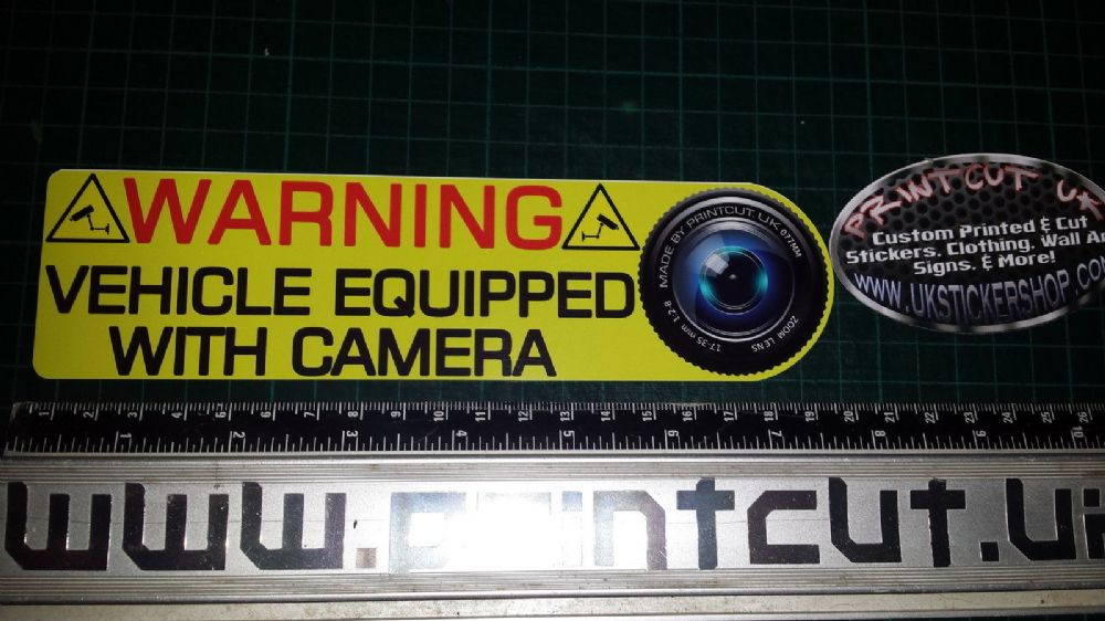WARNING VEHICLE EQUIPPED WITH CAMERA Sticker x1 Car Van Lorry DASHCAM bike